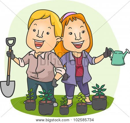 Illustration of a Couple Planting Seedlings in Their Garden Together