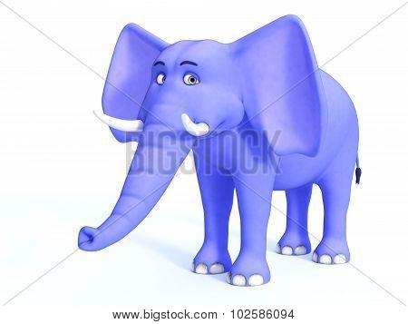 Blue Cute Toon Elephant.