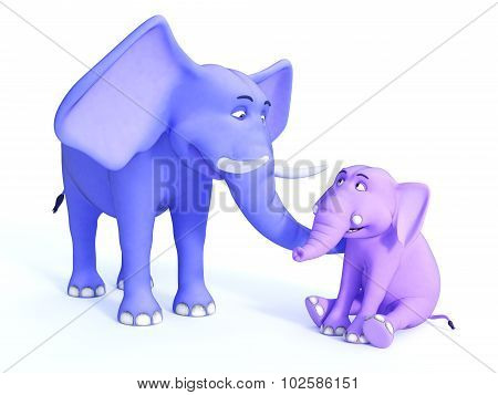 Cute Toon Elephant Family, Image 2.