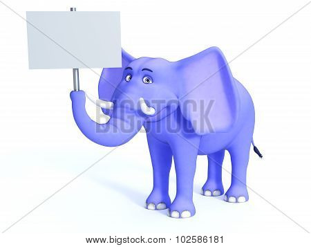 Blue Cute Toon Elephant Holding Empty Sign.