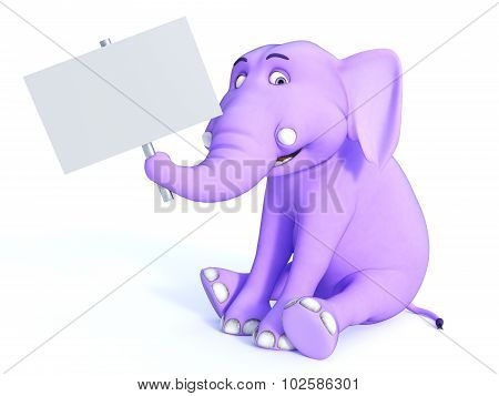 Cute Pink Toon Baby Elephant Holding Empty Sign.