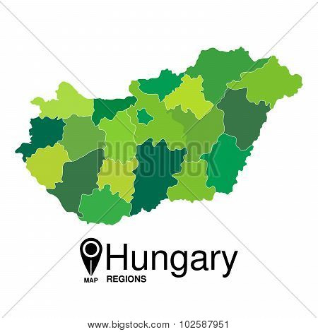 Regions Map Of Hungary.  Hungary