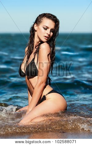 Sexy brunette girl in black bikini posing on a beach