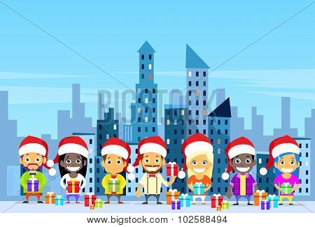 People Gift Box Present Shopping Winter City Street, Christmas New Year Girls and Men