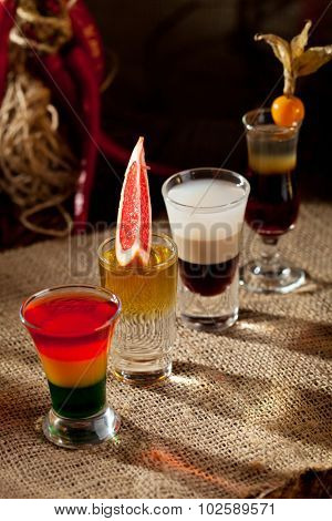 Short Alcoholic Cocktail on the Sackcloth