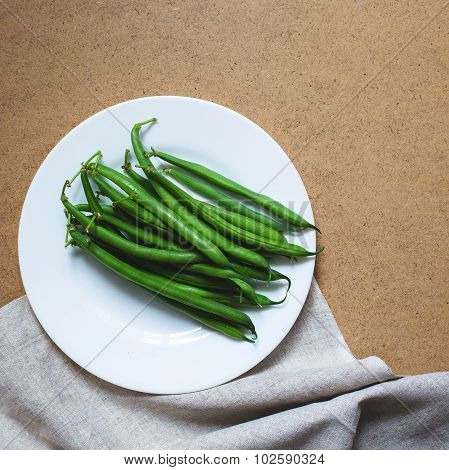 Green Beans On A White Plate