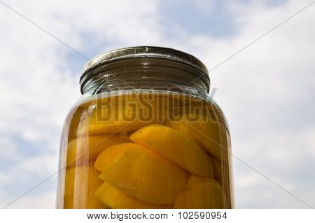 Homemade Cooked Apricot Compote In The Glass Jar