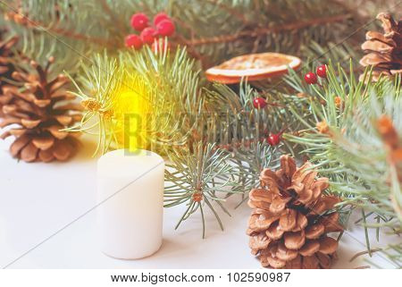 Christmas Ball On Green Spruce Branches Christmas Card