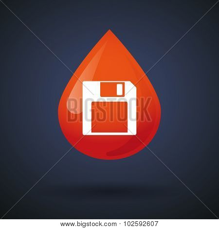 Blood Drop Icon With A Floppy Disk