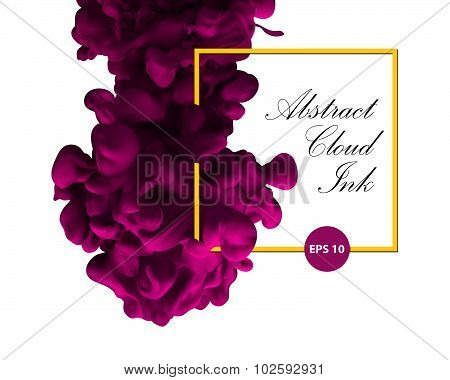 Abstract cloud ink. Pink color and yellow border. Water paint, art banner, splash pink ink. Physics