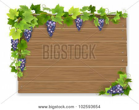 Branch Of Grapes On Wooden Sign