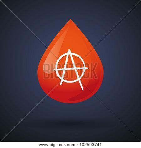 Blood Drop Icon With An Anarchy Sign