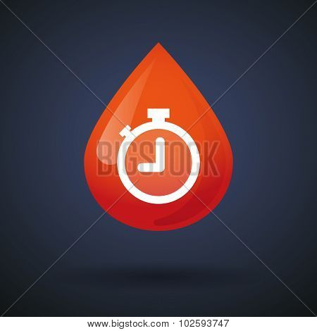 Blood Drop Icon With A Timer