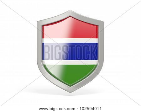 Shield Icon With Flag Of Gambia