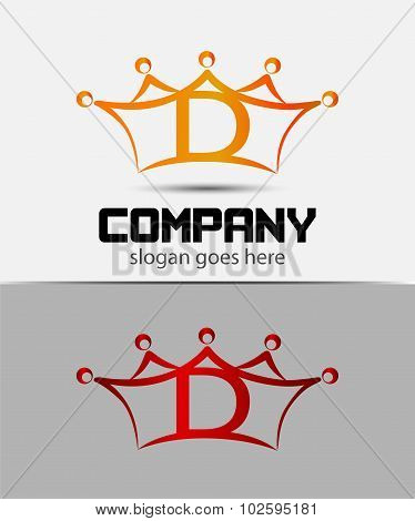 Letter d logo with crown icon design template elements