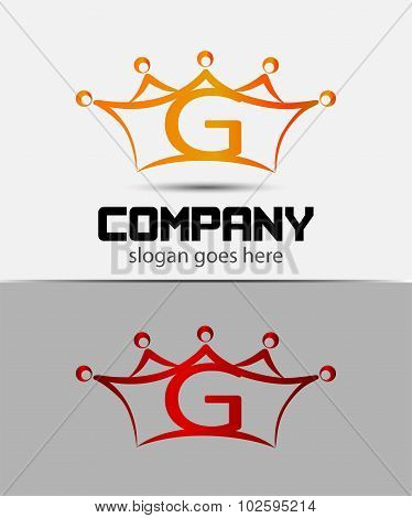Letter g logo with crown icon design template elements
