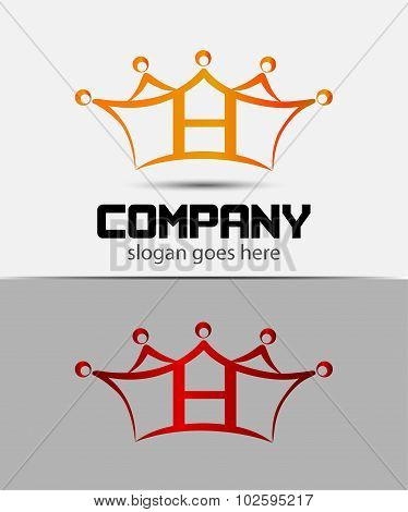 Letter h logo with crown icon design template elements