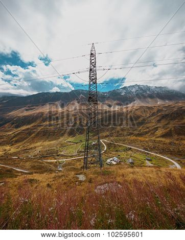 Pylon in the Alpine landscape