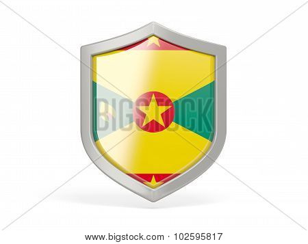 Shield Icon With Flag Of Grenada