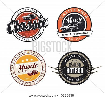 Set of classic muscle car emblems badges and signs.