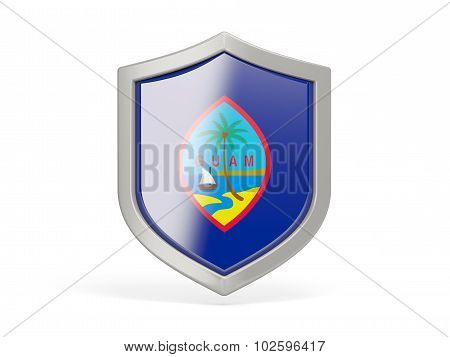 Shield Icon With Flag Of Guam