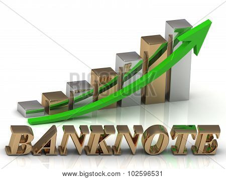Banknote- Inscription Of Gold Letters And Graphic Growth
