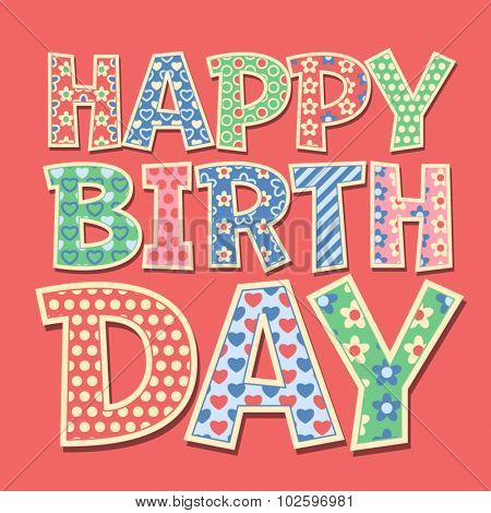 Happy birthday vector card with redneck style letters