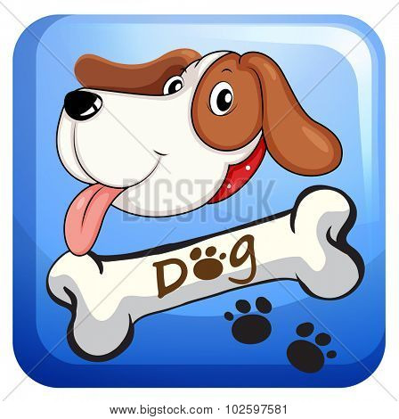 Dog and bone on badge illustration