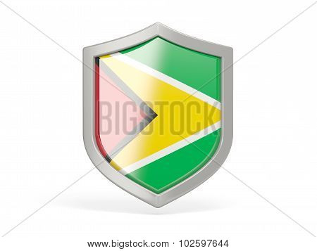 Shield Icon With Flag Of Guyana