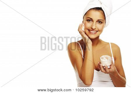 Brunette Woman Doing Daily Morning Routines