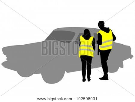 Traffic officer in uniform on white background