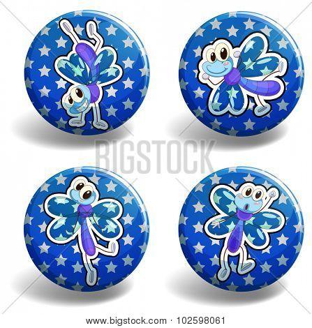 Dragonfly on blue badges illustration