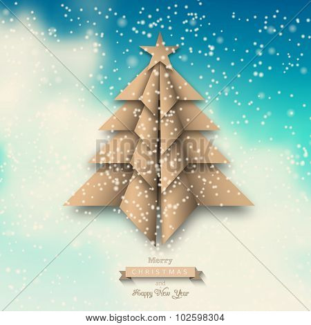 Paper origami christmas tree on abstract sky, illustration