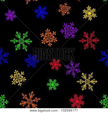Abstract Seamless Pattern With Six-colored Rainbow Snowflake