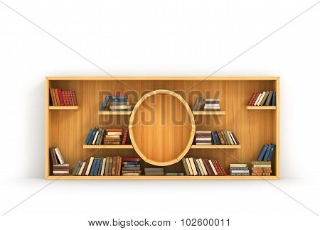 Concept Of Training. Wooden Bookshelf In Form Of Money. Science About Money. Economy. A Human Have M
