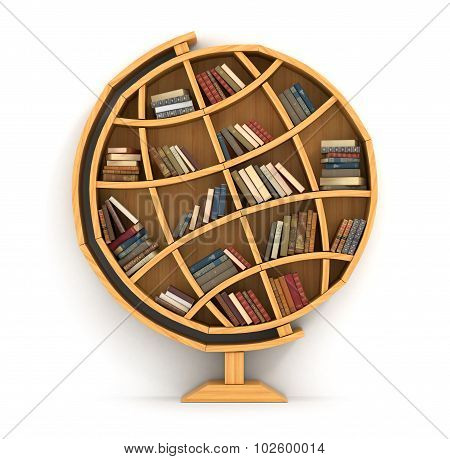 Concept Of Training. Wooden Bookshelf In Form Of Globe. Science About Locality. Geography. A Human H