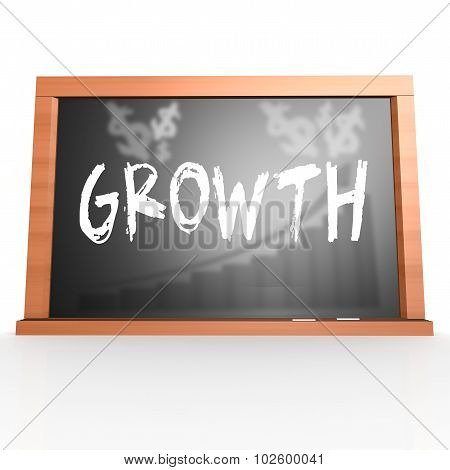 Black Board With Growth Word