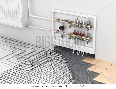 Underfloor Heating With Collector And Radiator In The Room. Concept Of Technology Heating. The Order