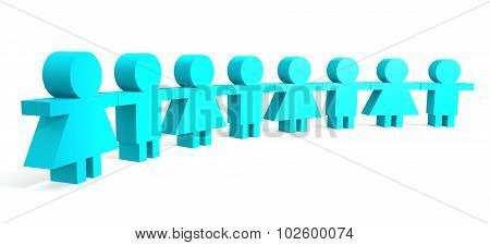 Blue People In A Line