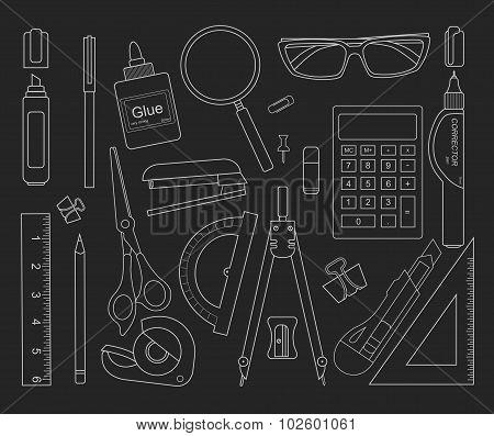 Stationery tools. Chalk