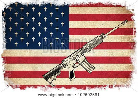 Death Flag Of Usa With Guns