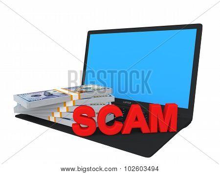 3d laptop and money scam concept