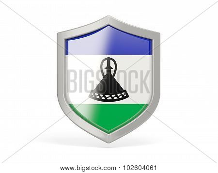 Shield Icon With Flag Of Lesotho