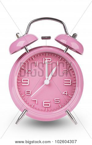 Pink Alarm Clock With Hands At 1 Am Or Pm isolated on white background