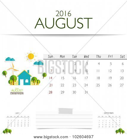 2016 calendar, monthly calendar template for August. Vector illustration.