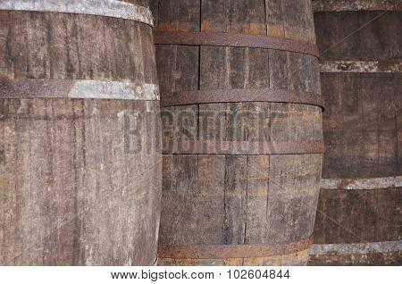 Old Wine Wooden Barrels Detail In A Winery. Warm Tone