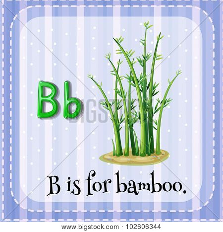 Flashcard letter B is for bamboo illustration