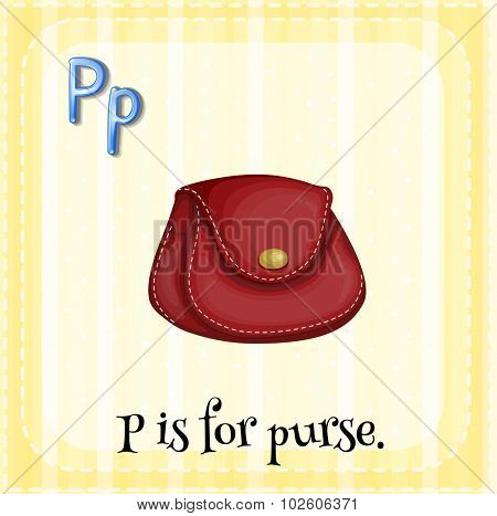 Flashcard letter P is for purse illustration