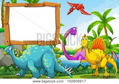Dinosaurs at the lake illustration
