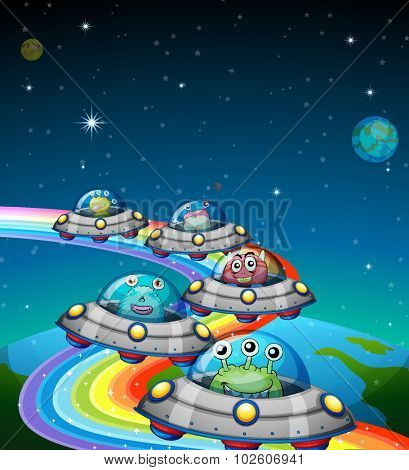 Aliens flying in the UFO illustration